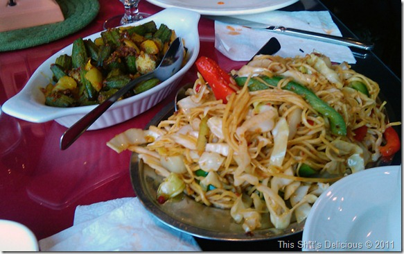 Okra and Hakka noodles – who orders this shit?  Oh yeah, Kent and Kiran.