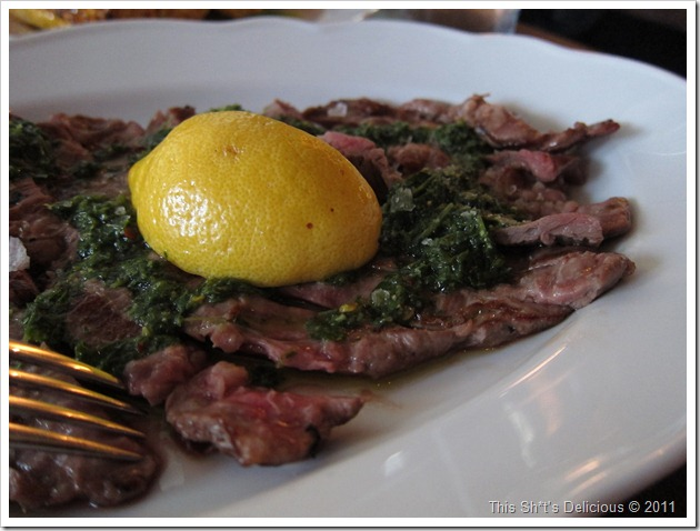 There's almost more lemon and chimmichuri than steak here!